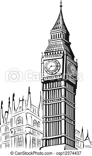 Vectors Of Sketch Of Big Ben London A Vector Image Of An
