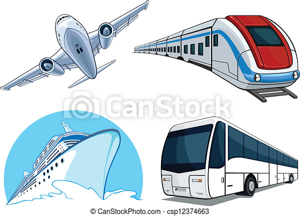 Travel Transportation Set - Airplan - csp12374663