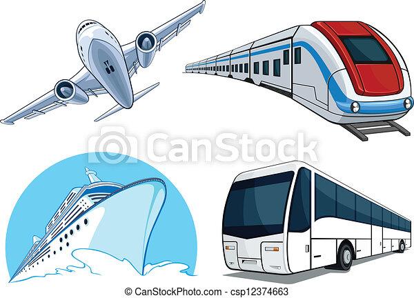 Travel Transportation Set - Airplan - csp12374663