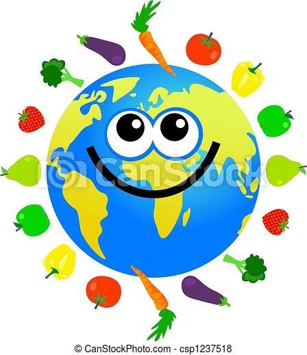 Stock Illustration of fruit and veg globe - cartoon world globe ...