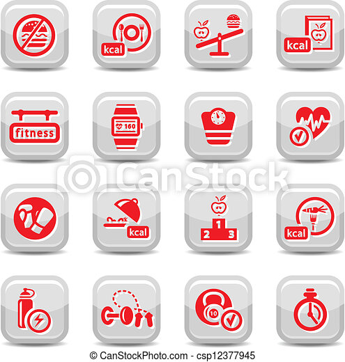 fitness and diet icons - csp12377945