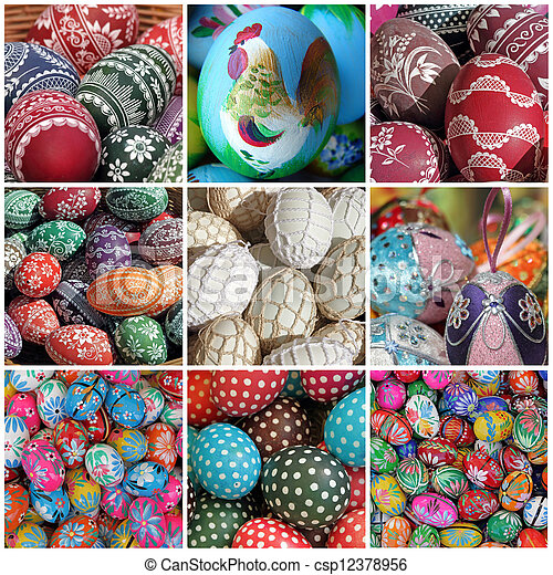 easter eggs collage - csp12378956