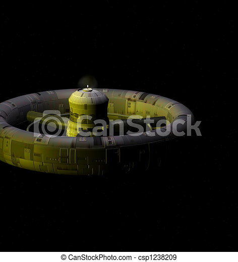 Stock illustration of space station 3d render of a space for Space station 13 3d