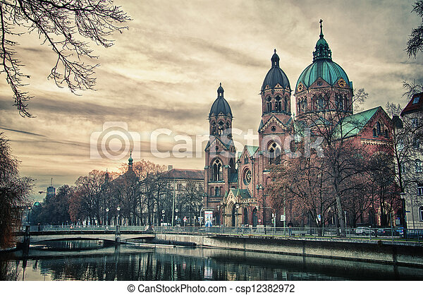 Beautiful  temple at sunset. Europe landmark of Munich, Germany - csp12382972