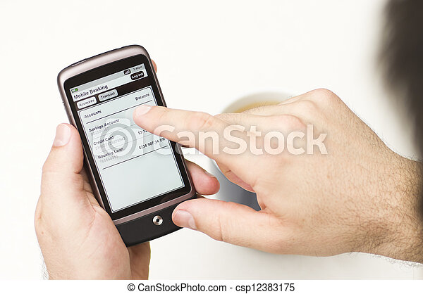 Man checks Mobile Banking details on a Smartphone - csp12383175