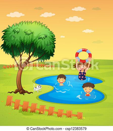 Ilustraciones vectoriales de niños, el gozar, piscina ...