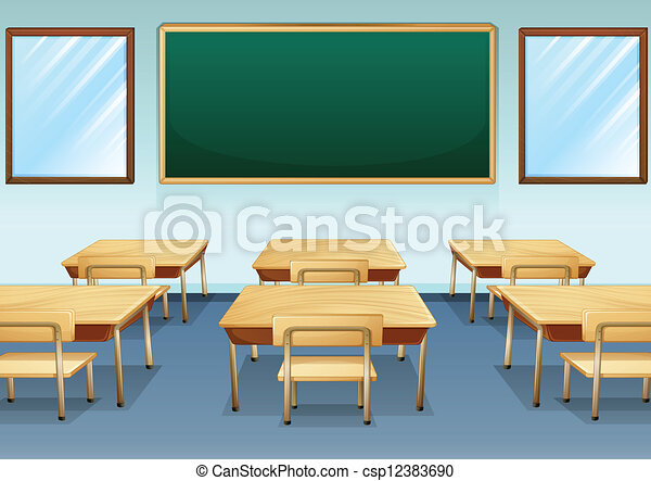EPS Vectors of A classroom - Illustration of a clean and ...