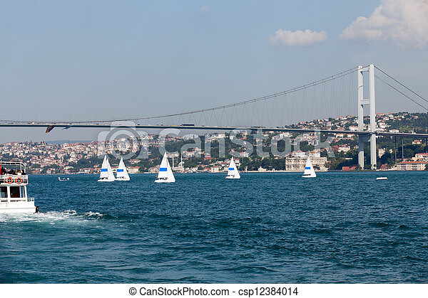 Istambul - Bosporus Bridge connecting Europe and Asia  - csp12384014