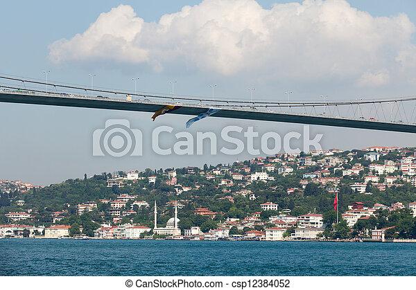 Istambul - Bosporus Bridge connecting Europe and Asia  - csp12384052