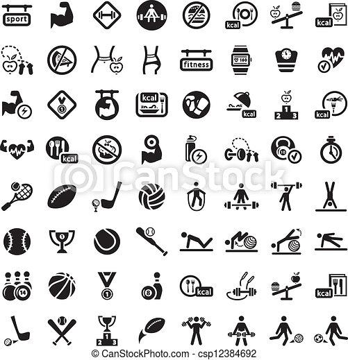 big fitness icon set - csp12384692