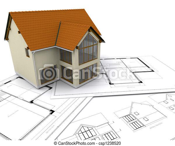 stock illustration von haus bauplaene modern haus auf bauplaene csp1238520 suchen sie. Black Bedroom Furniture Sets. Home Design Ideas