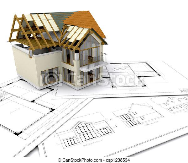 casa, construção, sob - csp1238534