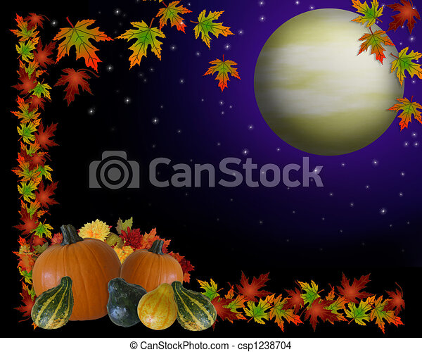 Autumn Harvest Moon Background - csp1238704