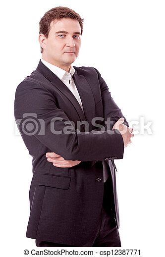 adult smiling business man with black suit isolated - csp12387771