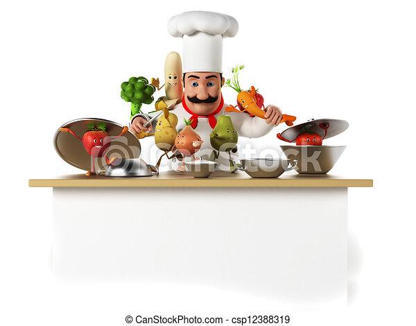 Clipart de cuisine chef cuistot et l gumes 3d rendu for Cuisinier 3 etoiles legumes