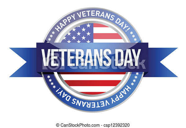 veterans day. us seal and banner - csp12392320