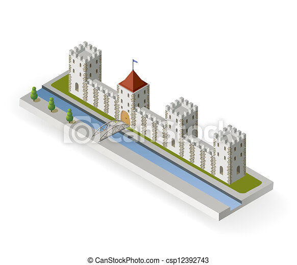 Castle Moat Drawing Isometric Medieval Castle
