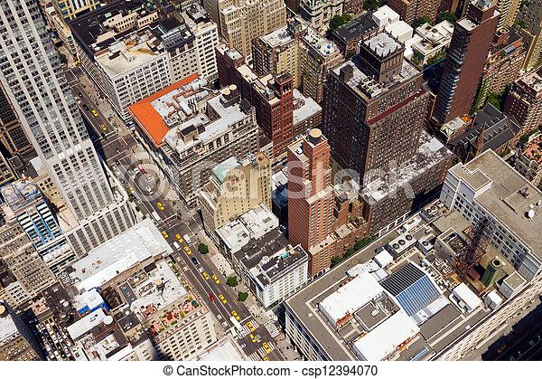 Downtown City Street Birds Eye View New York - csp12394070
