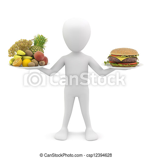 3d man holding fruit and hamburger. 3d image. - csp12394628