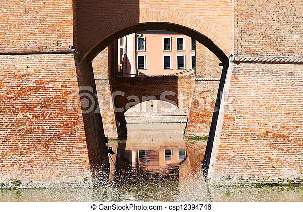 moat and bridges of Castle Estense in Ferrara - csp12394748