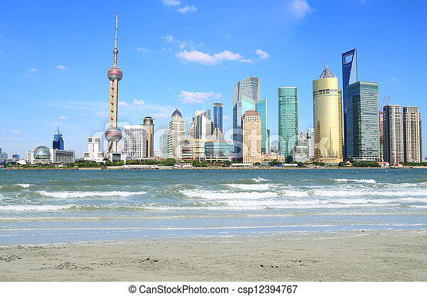 Lujiazui Finance&Trade Zone of Shanghai landmark skyline at New - csp12394767