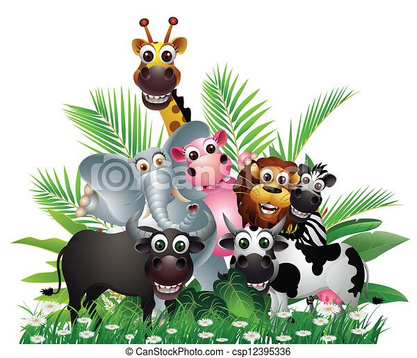 funny animal cartoon collection  - csp12395336