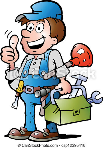 Vector Clip Art of Plumber Handyman, giving thumb up - Hand-drawn ...