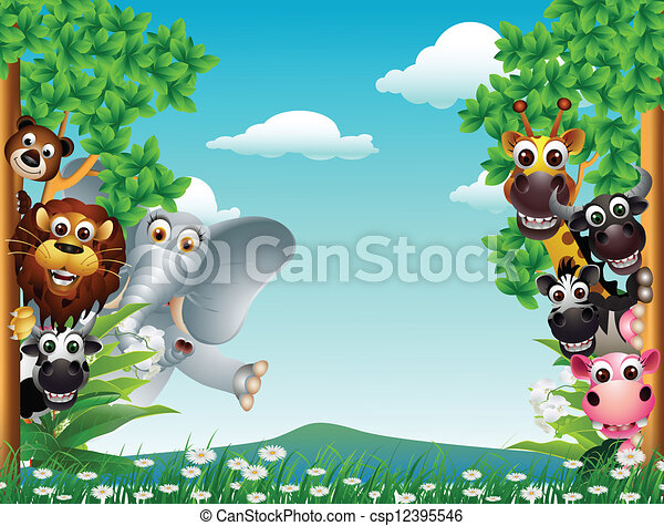 funny animal cartoon collection  - csp12395546