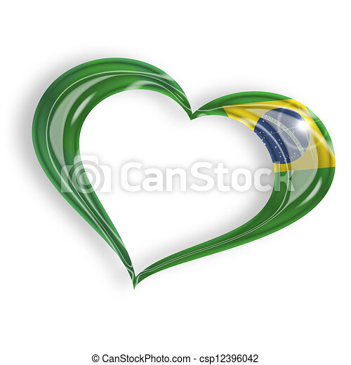 heart with brazilian flag  isolated on white background - csp12396042