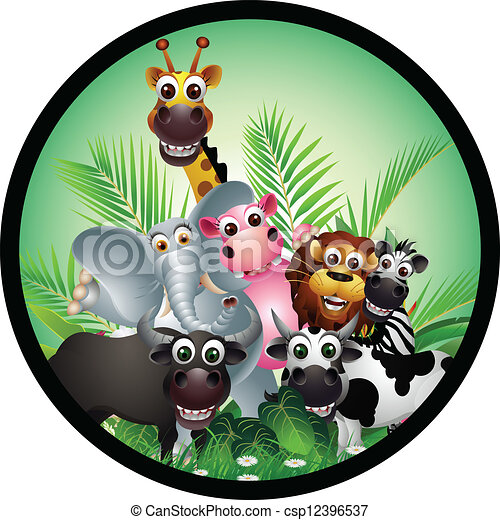 funny animal cartoon collection  - csp12396537