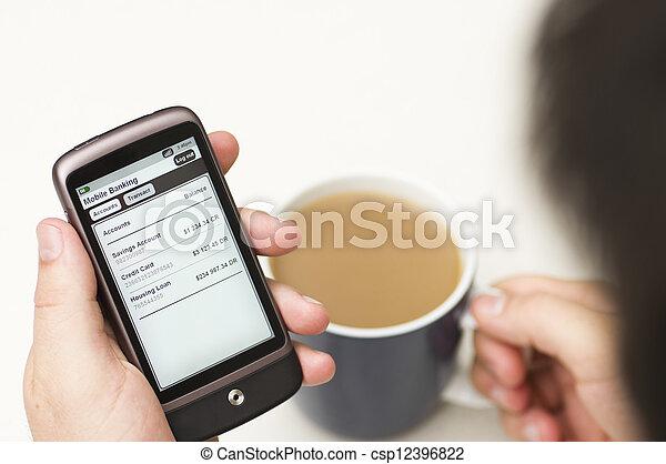 bancario,  smartphone, dettagli, uomo, assegni - csp12396822