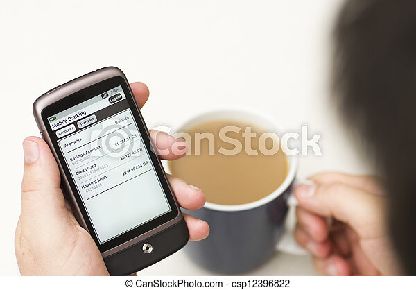 bankrörelse,  smartphone, detaljerna,  man, kontrollerna - csp12396822
