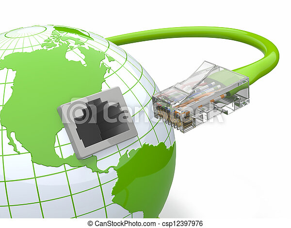 Global communication. Earth and cable, rj45. - csp12397976