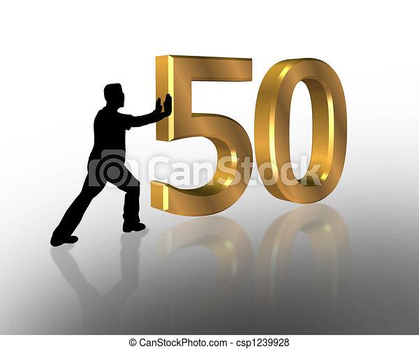50th Birthday 3D invitation - csp1239928