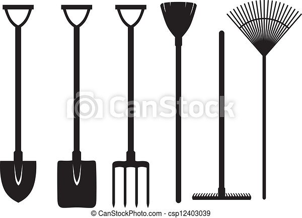 Vectors of Gardening tools set - Set of silhouette images ...