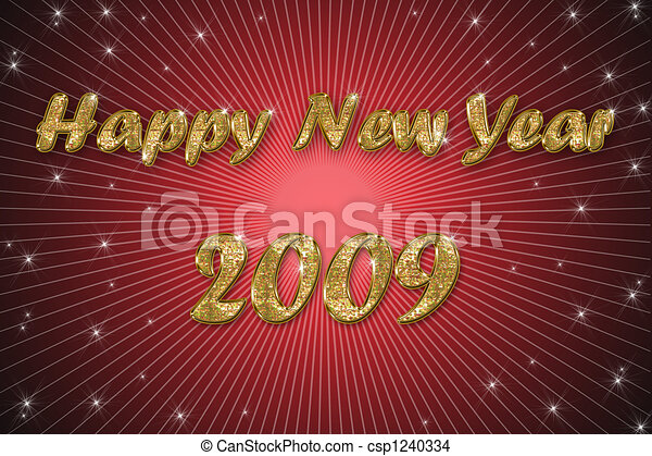 happy new year red background - csp1240334