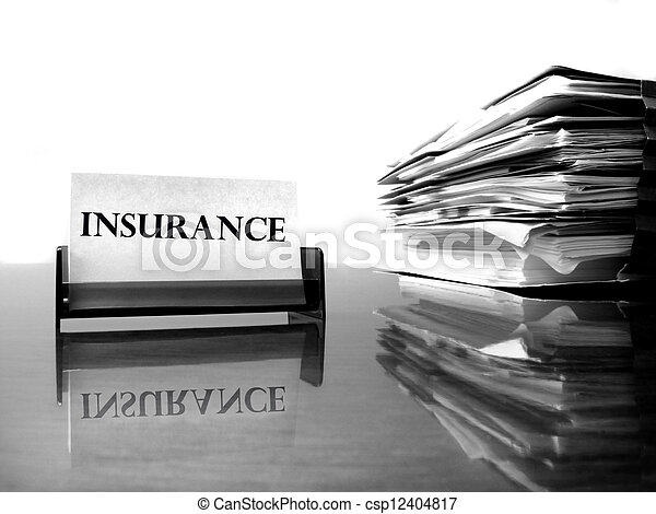 Insurance Card and Files - csp12404817