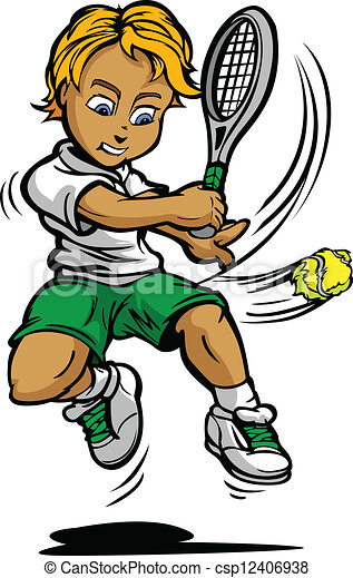 Vectores de ni o tenis jugador ni o balanceo raqueta - Dessin raquette ...