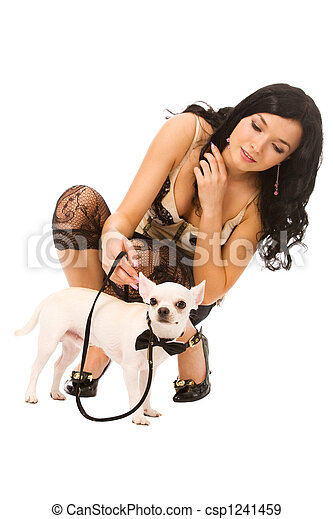 woman with doggy - csp1241459