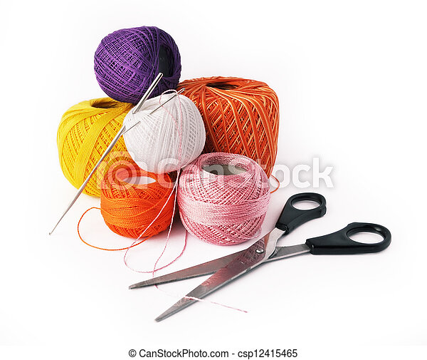 Hobby - crochet tools isolated on white background - csp12415465