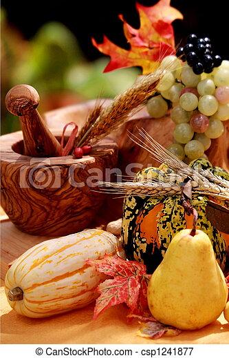 Still life with fall pear & pumpkin - csp1241877