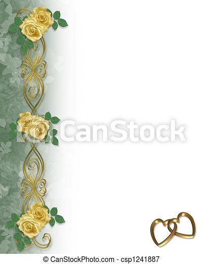 Yellow Roses Wedding Border - csp1241887