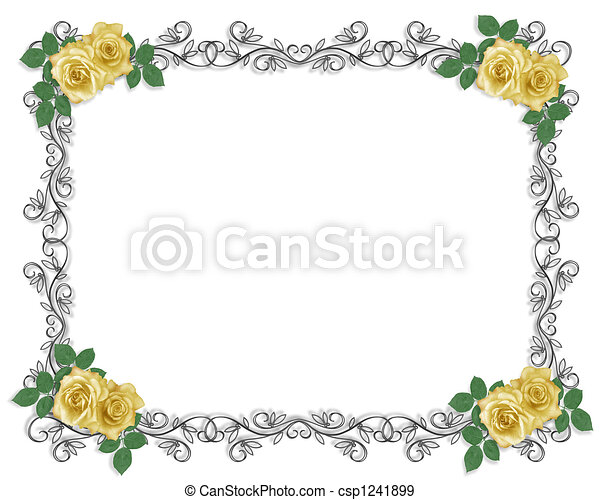 Stock Illustration Yellow Roses Wedding Border