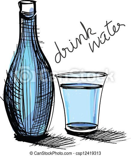 clip art vecteur de eau boisson bouteille verre rugueux dessin les csp12419313. Black Bedroom Furniture Sets. Home Design Ideas