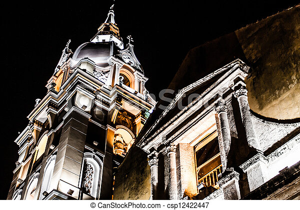 Cathedral Cartagena de Indias and Temple of Siglo Colombia Cartagena historic architecture - csp12422447