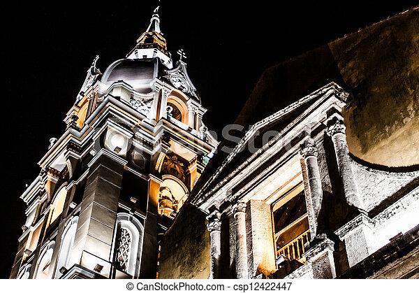 Cathedral Cartagena de Indias and Temple of Siglo Colombia Cartagena historic architecture - csp12422447