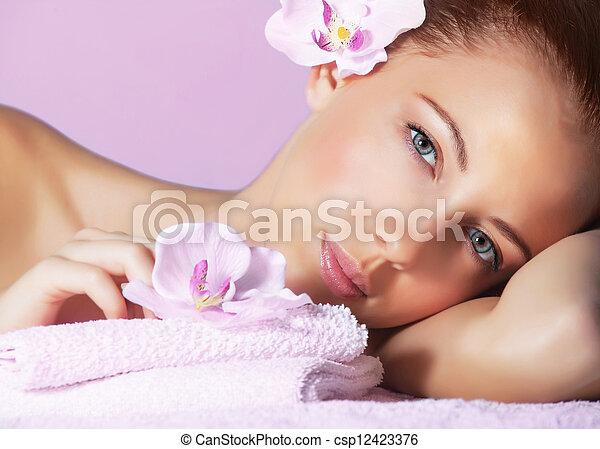Female in spa salon - csp12423376