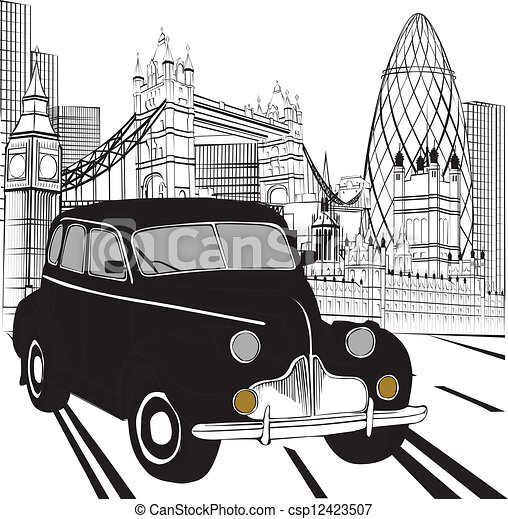 clipart vecteur de taxi croquis londres croquis les vues de londres csp12423507. Black Bedroom Furniture Sets. Home Design Ideas