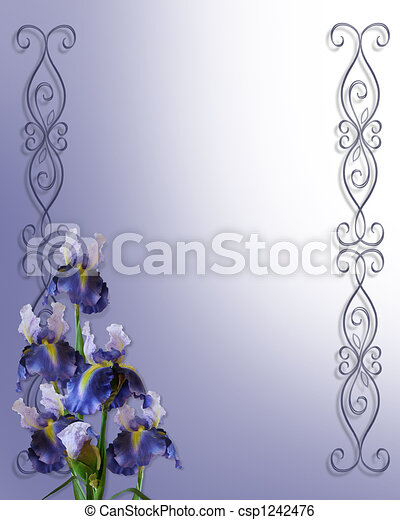 Irises Corner for Invitation card - csp1242476