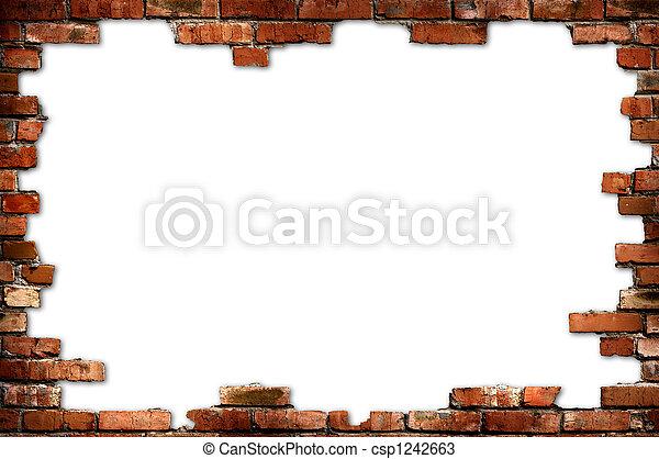 Brick wall grungy frame - csp1242663